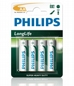Bateria PHILIPS R6L4B/10 Longlife ( Idealna Do Zegarów, Kalkulatorów, Pilotów I Radia, 4szt )